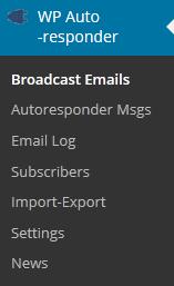 WordPress AutoResponder Menu
